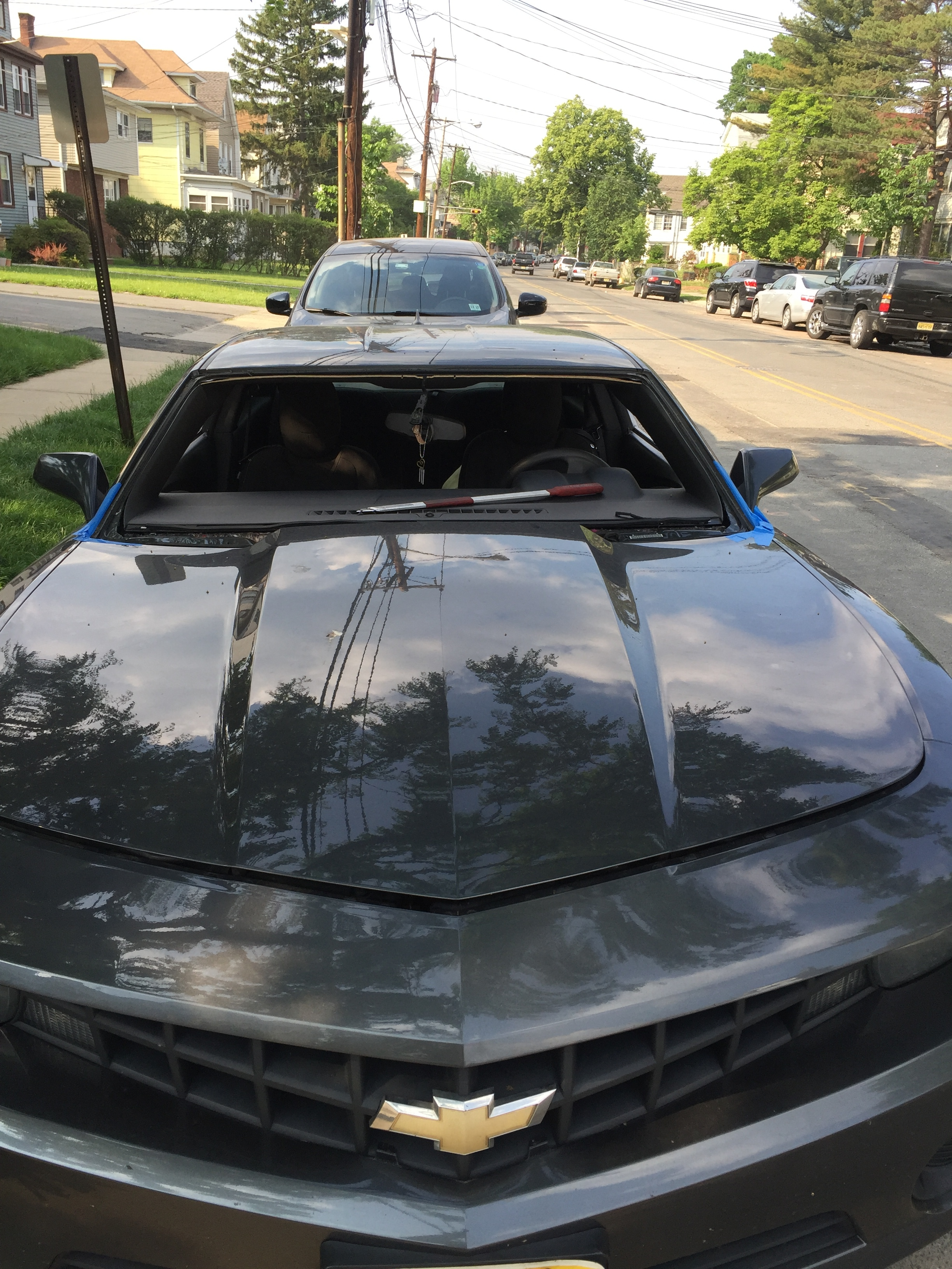 2012 Chevy Camaro Windshield Replacement Install cut out Platinum Auto Glass NJ