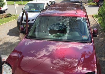 2012 GMC Yukon Smashed Windshield replacement cut out Platinum Auto Glass