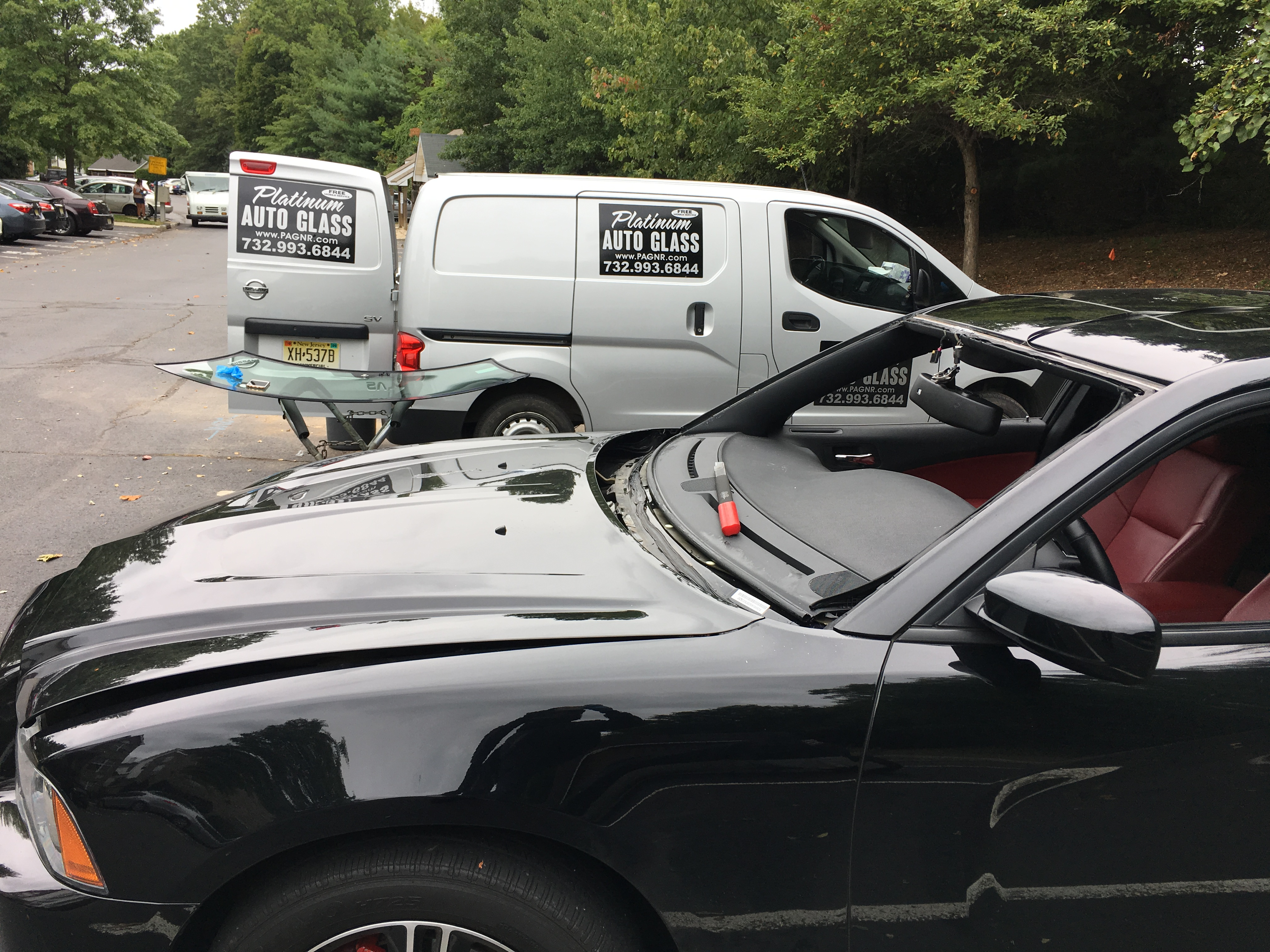 2015 Dodge Charge  automobile cut out before new window replacement all done in New Jersey    by Platinum Auto Glass Repair  New Jersey @platinumautoglassnj.com