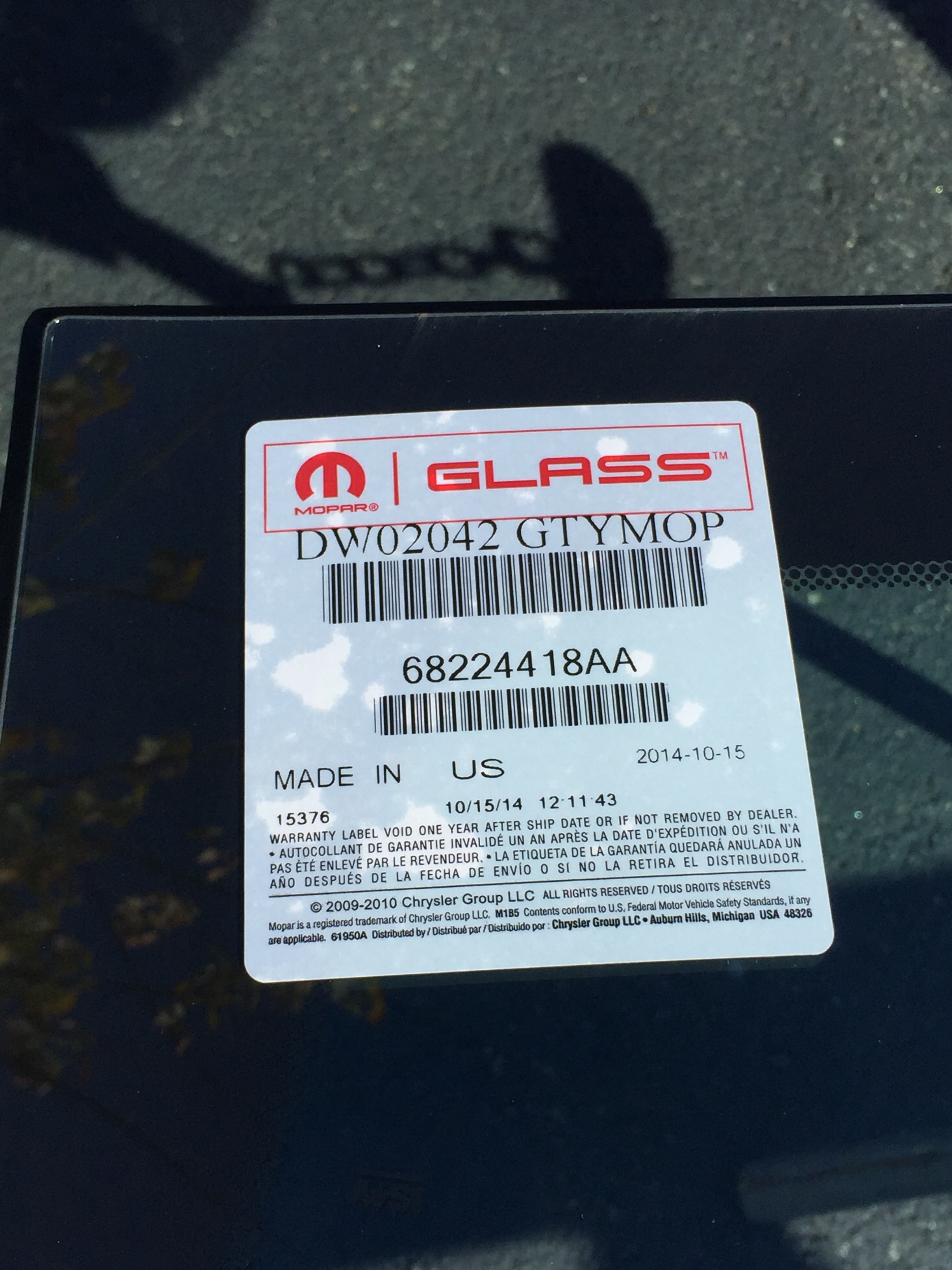 2017 Dodge Charger Windshield Replacement OEM Glass by Platinum Auto Glass NJ